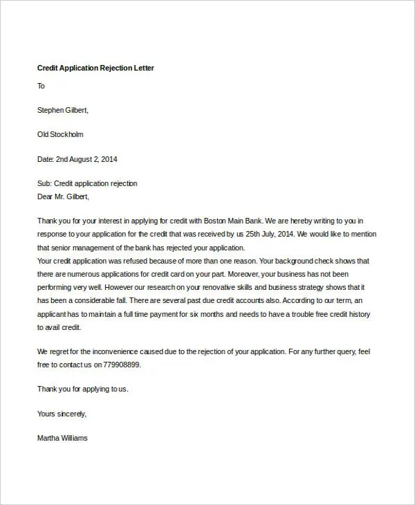 Credit Application Letter Examples