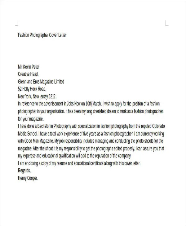 8 Photographer Cover Letter Templates Free Sample Example Format Download Free Amp Premium
