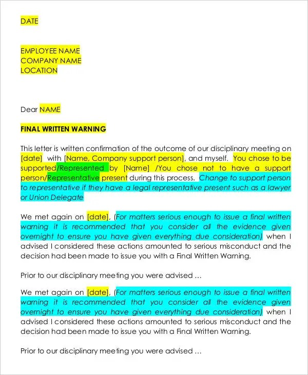 Warning letter to employee for serious misconduct poemsrom final written warning letter spiritdancerdesigns Image collections