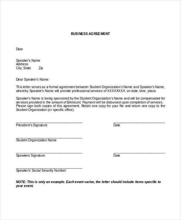 25 Agreement Letter Templates Word Pdf Free Premium