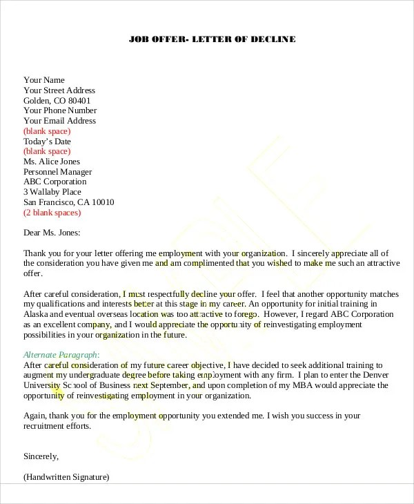 Template  Email After Job Rejection