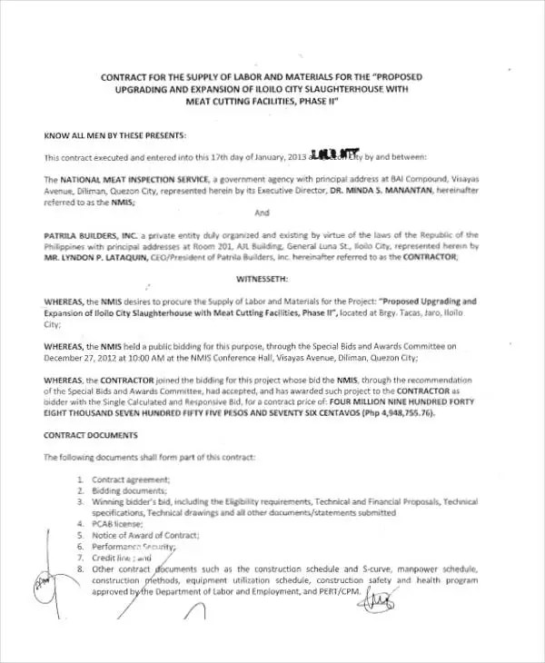 8 Supply Contract Templates Free Word PDF Format