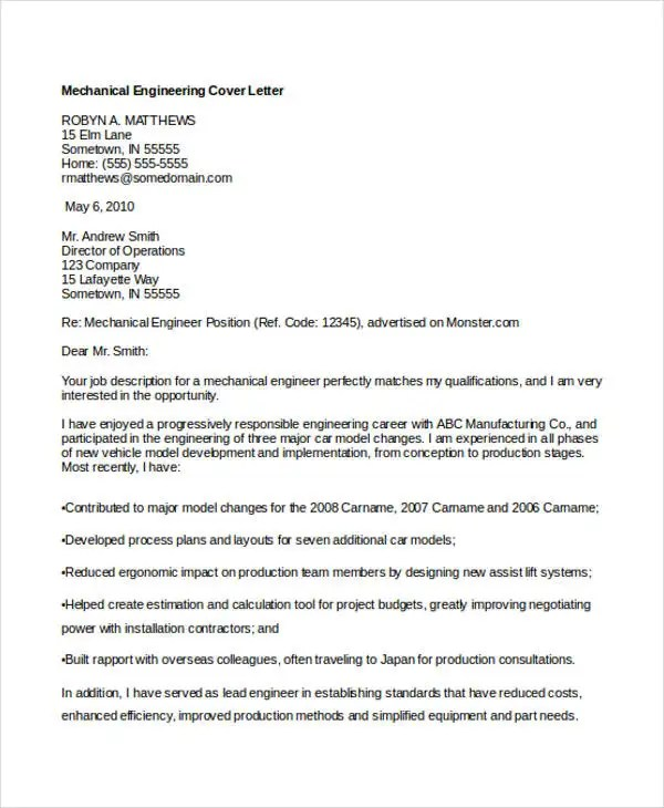 Engineering Cover Letters 11 Free Word PDF Format Download Free Amp Premium Templates