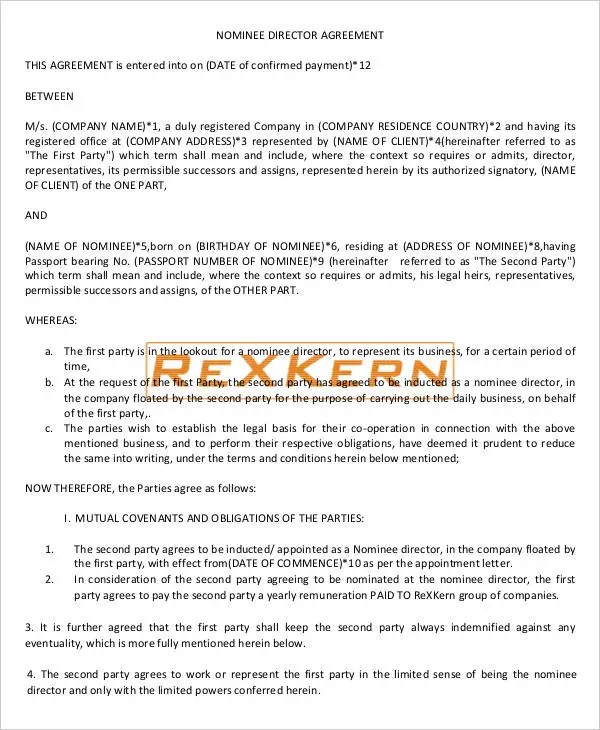 Director Agreement Templates 10 Free Word Pdf Format