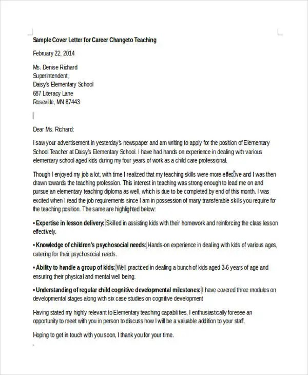 Easy Cover Letter Template New Career With Change Sle No Experience