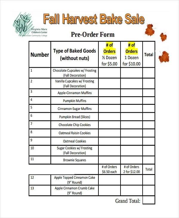 Order Sale Pre Bake Form