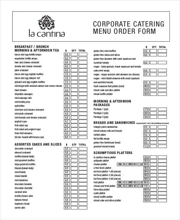 16 Catering Order Forms MS Word Numbers Pages Free Amp Premium Templates
