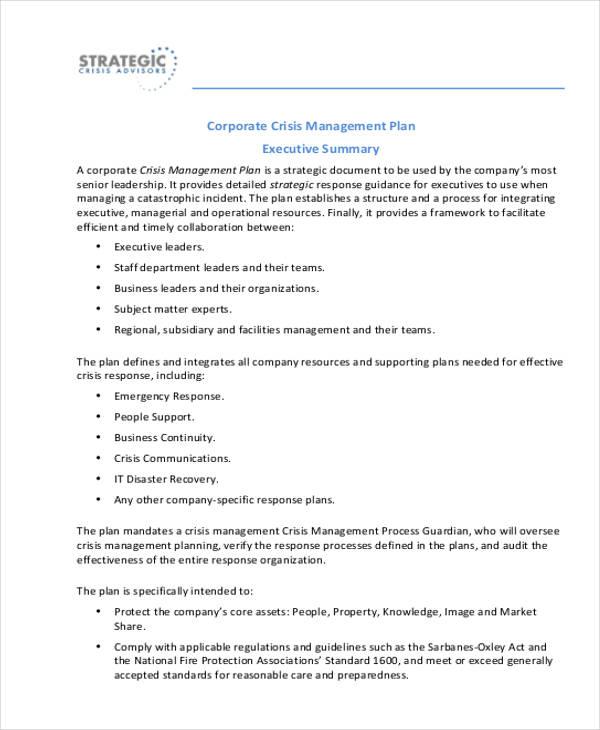 Crisis Management Plan Templates 12 Free Word Pdf Format