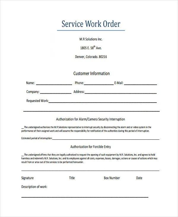 28 Work Order Templates Ai Psd Free Premium Templates