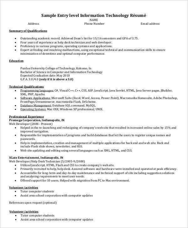 24 IT Resume Templates PDF DOC Free Amp Premium Templates