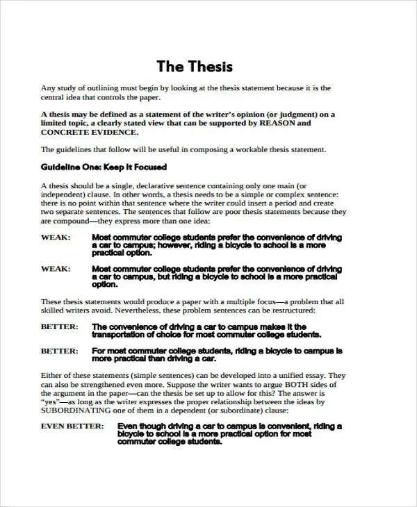 Thesis Outline Templates 8 Free Pdf Format Download Free