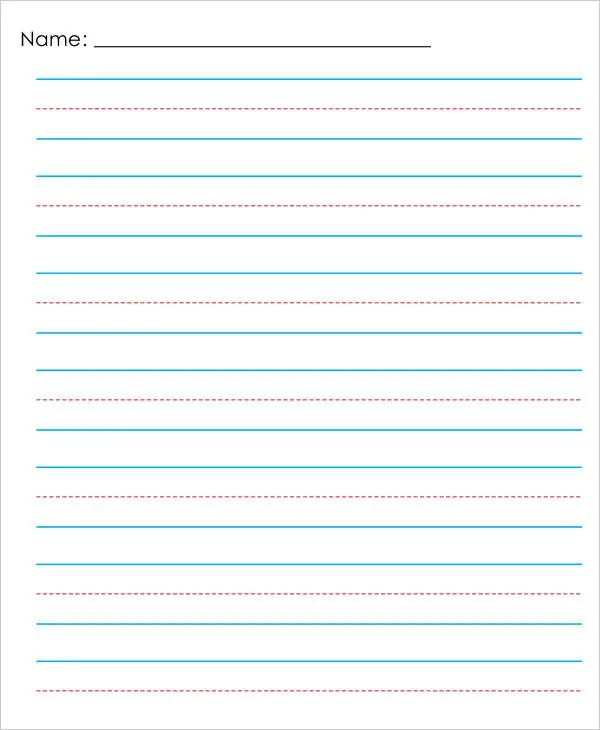 primary lined paper template
