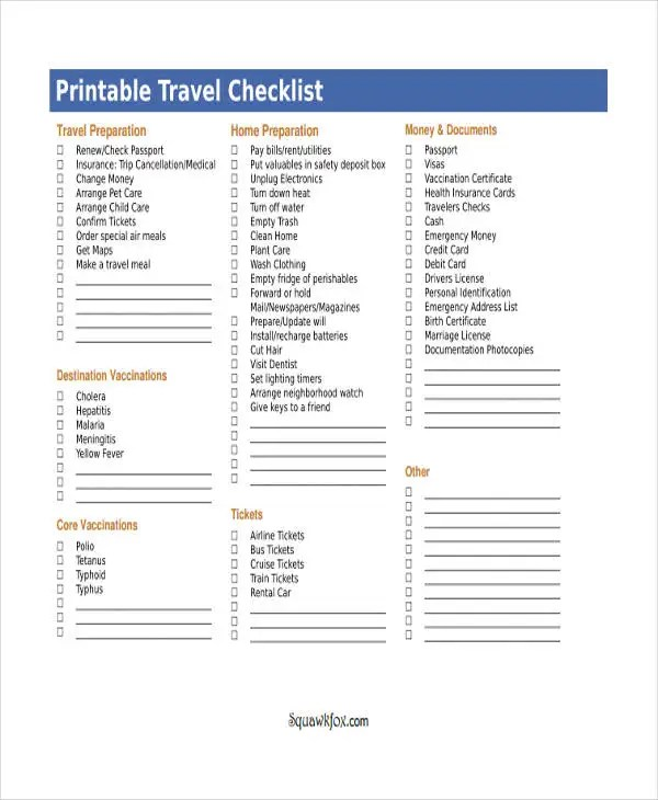 Travel Checklist Templates 11 Free Samples Examples Format Download Free Amp Premium Templates