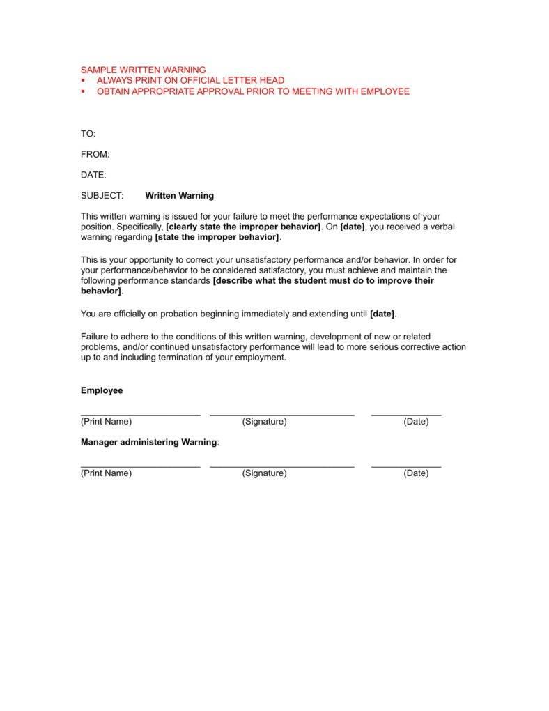 warning letter to employee sample