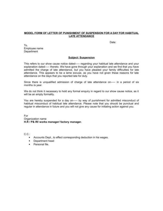 Sample warning letter for habitual tardiness poemsrom warning letter for late attendance altavistaventures Image collections