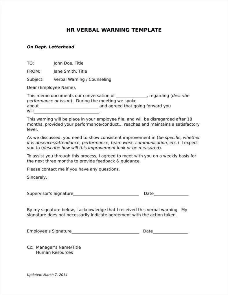 Employee Warning Letter Template Word | lv.crelegant.com