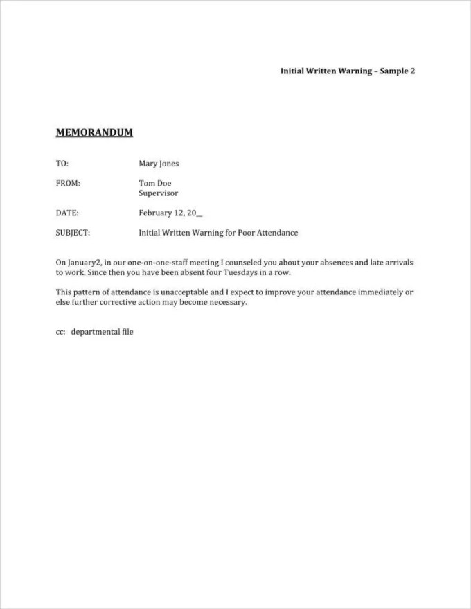 Sample warning letter for absenteeism textpoems 9 absence warning letter templates free word pdf excel format spiritdancerdesigns Choice Image