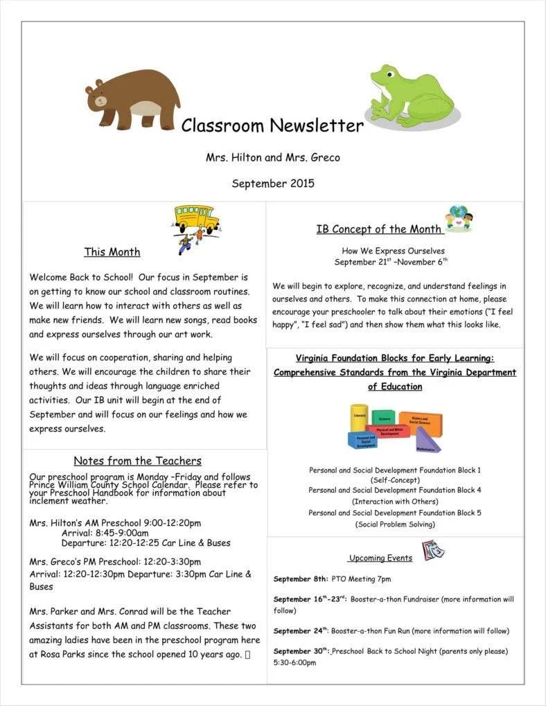 11 Kindergarten Newsletter Templates Free Samples Examples