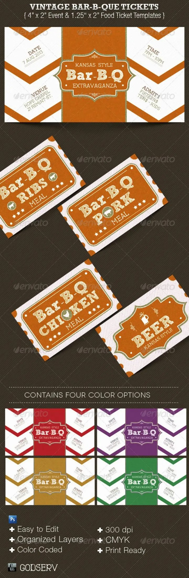 13 Appetizing Barbecue Ticket Templates PSD Vector EPS Free Premium Templates