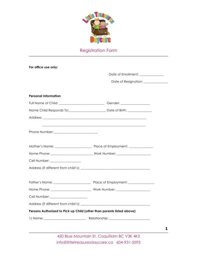 9 Daycare Application Form Templates Free Pdf Doc Format