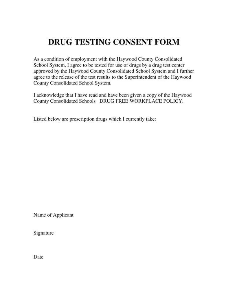 9 Drug Testing Consent Forms Pdf Doc Free Premium