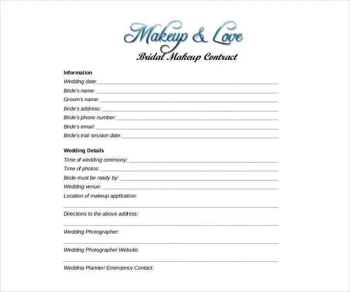 13 Wedding Contract Templates Free Pdf Doc Format