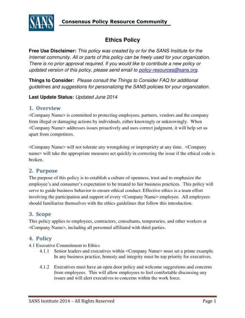 7 Business Code Of Ethics Policy Templates Free Premium