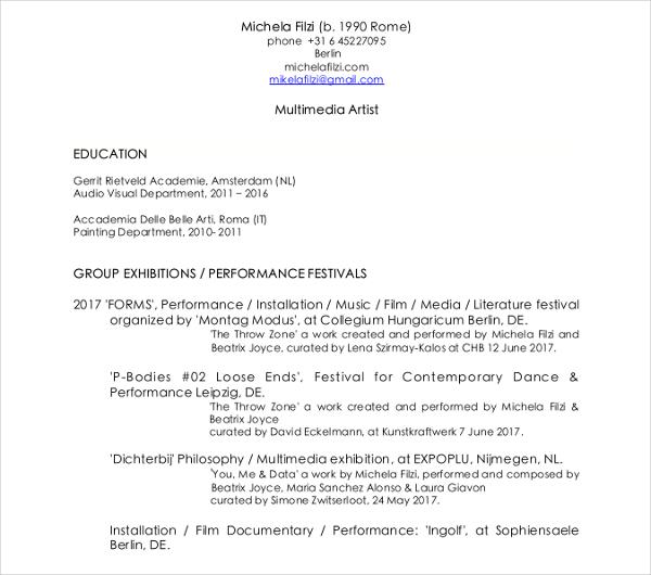Artist Resume Template Resume Sample