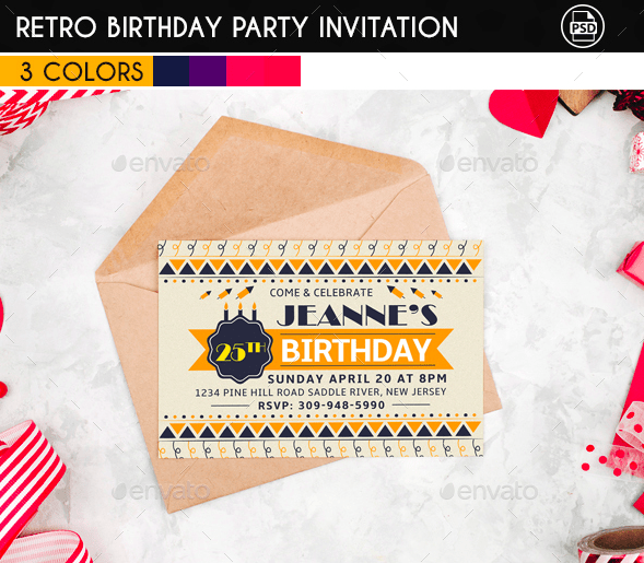 18 retro birthday invitation designs