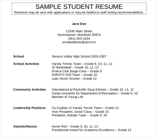 11 High School Student Resume Templates PDF DOC Free Amp Premium Templates