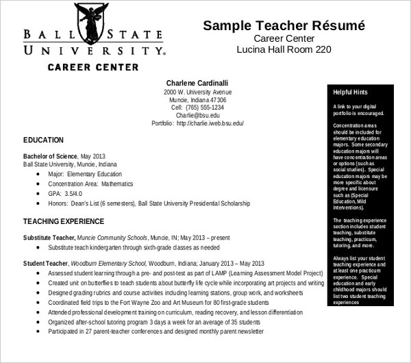 9 Substitute Teacher Resume Templates Pdf Doc Free