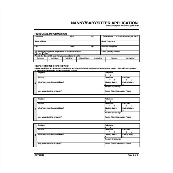 6 Nanny Application Form Templates In Pdf Free