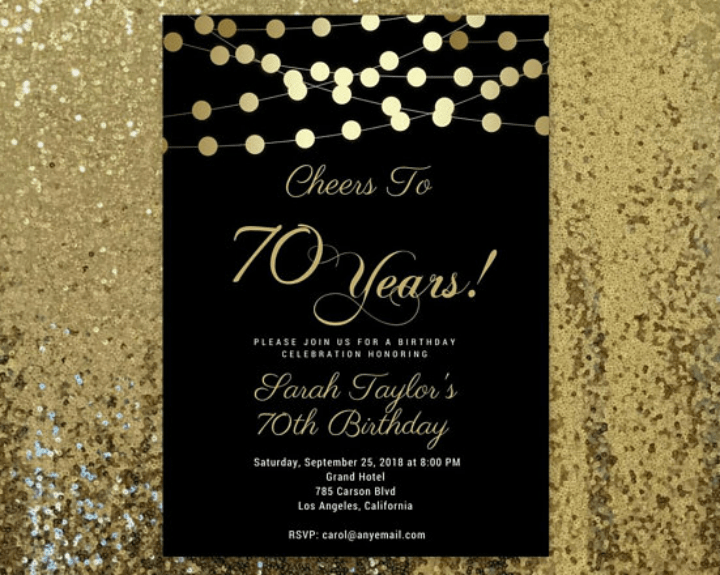 70 birthday invitation templates