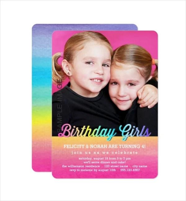 7 twin birthday invitation designs