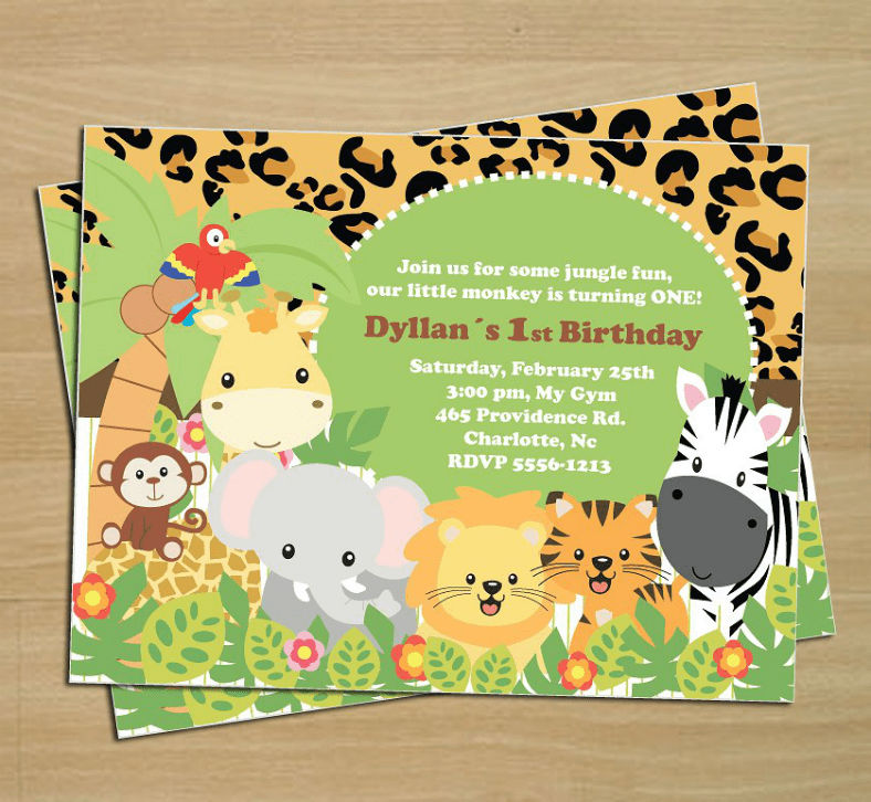 Giraffe Print Birthday Invitations