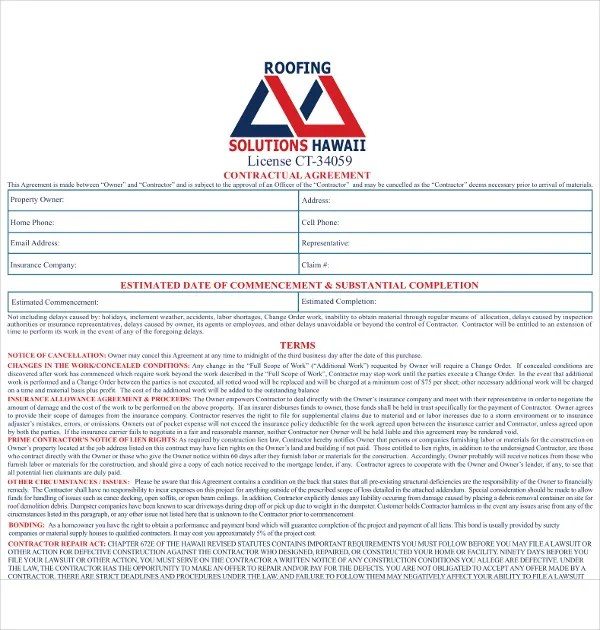 15 Roofing Contract Templates Word Pdf Google Docs