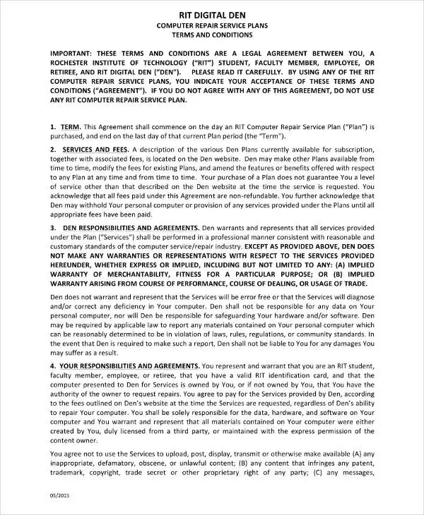 14 Computer Service Contract Templates Word Docs Pdf
