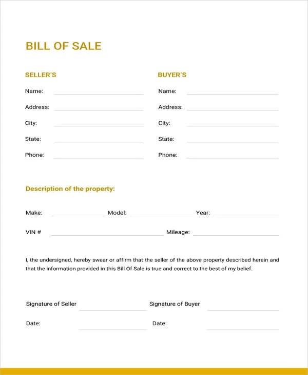 Generic Bill Of Sale Template 17 Free Word Pdf Document