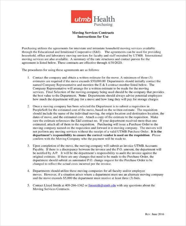 7 Moving Company Contract Templates Word Apple Pages Google Docs Free Amp Premium Templates