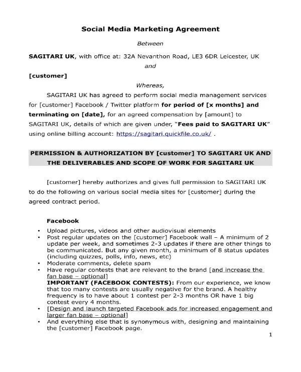 3 Social Media Marketing Contract Templates PDF Word Free Amp Premium Templates