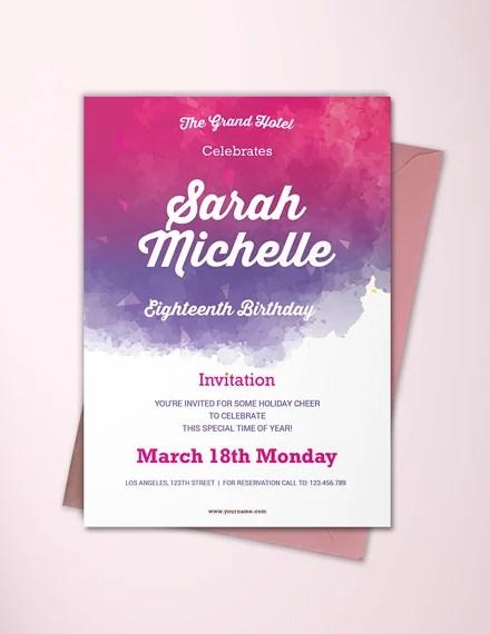 18th birthday invitation card ideas for