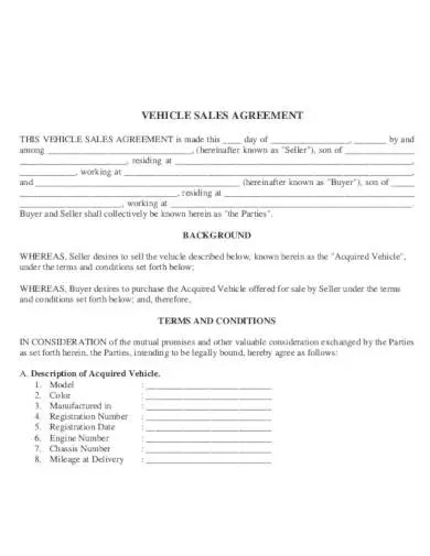 6 Car Sale Agreement Templates In Pdf Word Pages