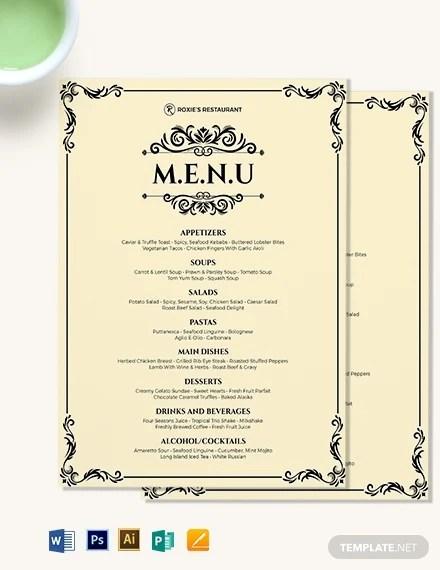 Dinner Menu Template 49 Free Word Pdf Psd Eps