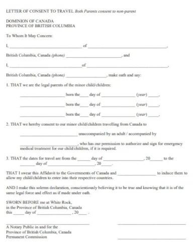 10 Travel Consent Letter Templates Pdf Free Premium