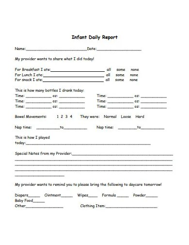 6 Preschool Daily Report Templates In Pdf Free Premium