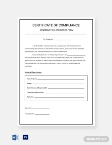 14 Compliance Certificate Templates Word Psd Pdf Free