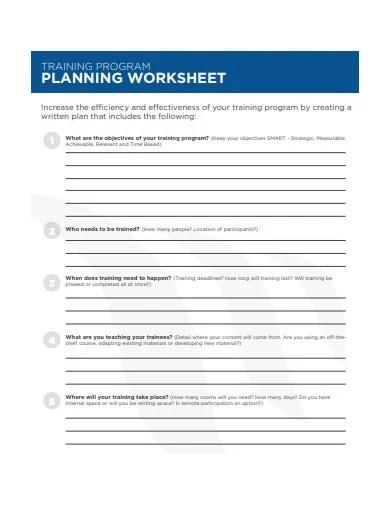 9 Training Worksheet Templates In