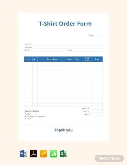 43 Blank Order Form Templates Pdf Doc Excel Free