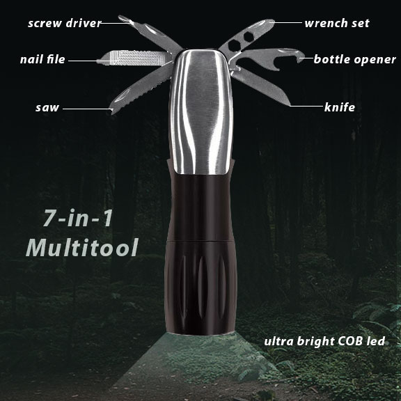 LOW AS $3.99! - 7-in-1 Multitool COB Light - Features a COB Flashlight, Screwdriver Set, Bottle Opener, Wrench Set, Fish Scaler, Knife and File - BATTERIES INCLUDED! - ORDER 6 OR MORE FOR ONLY $3.99 EACH! SHIPS FREE!