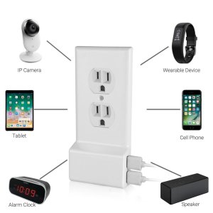 Power Outlet Cover With TWO USB Side Ports - Yup, just replace your normal wall plate cover with this and instantly have 2 USB ports added to your outlet! Super simple to install! - Order 3 or more for only $8.99 each! SHIPS FREE!